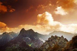 Tatra mountains landscape at sunset