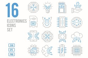 Electronics line icons set