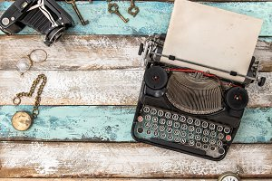 Antique typewriter vintage flat lay