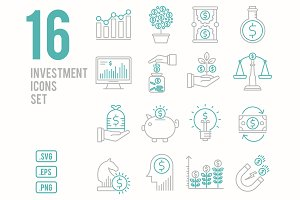 Investment line icons set