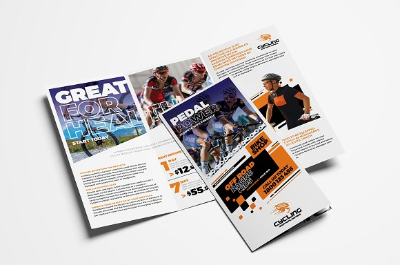 cycling trifold brochure template brochure templates creative market
