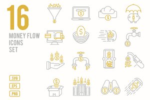 Money flow line icons