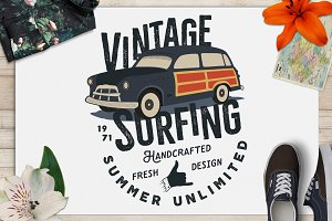 Vintage Surfing Badge / Surf Logo