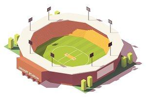 Vector isometric low poly cricket stadium