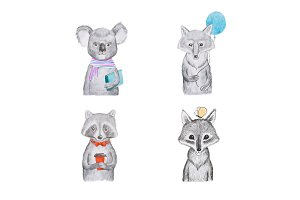 Portrait of cartoon aminals kids koala wolf and raccoon.