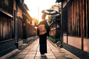 Japanese woman in Kyoto