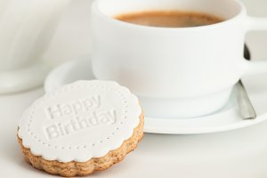 Coffee cup and fondant cookie