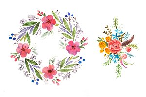 Romantic floral garland hand drawn with watercolors isolated on white background