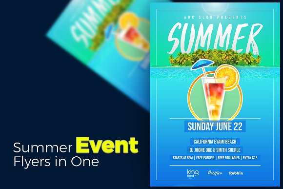 Summer event flyer flyer templates creative market summer event flyer flyers maxwellsz