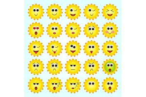 Set of Sun, Sunflowers Emoticons. Set of Emoji.