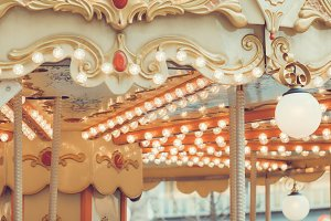 Details of a vintage carousel