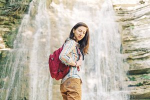 Explorer backpacker girl