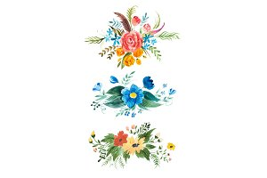 Watercolour bouquet of flowers. Hand-painted decoration element with roses, forget-me-nots, globe-flowers and leaves