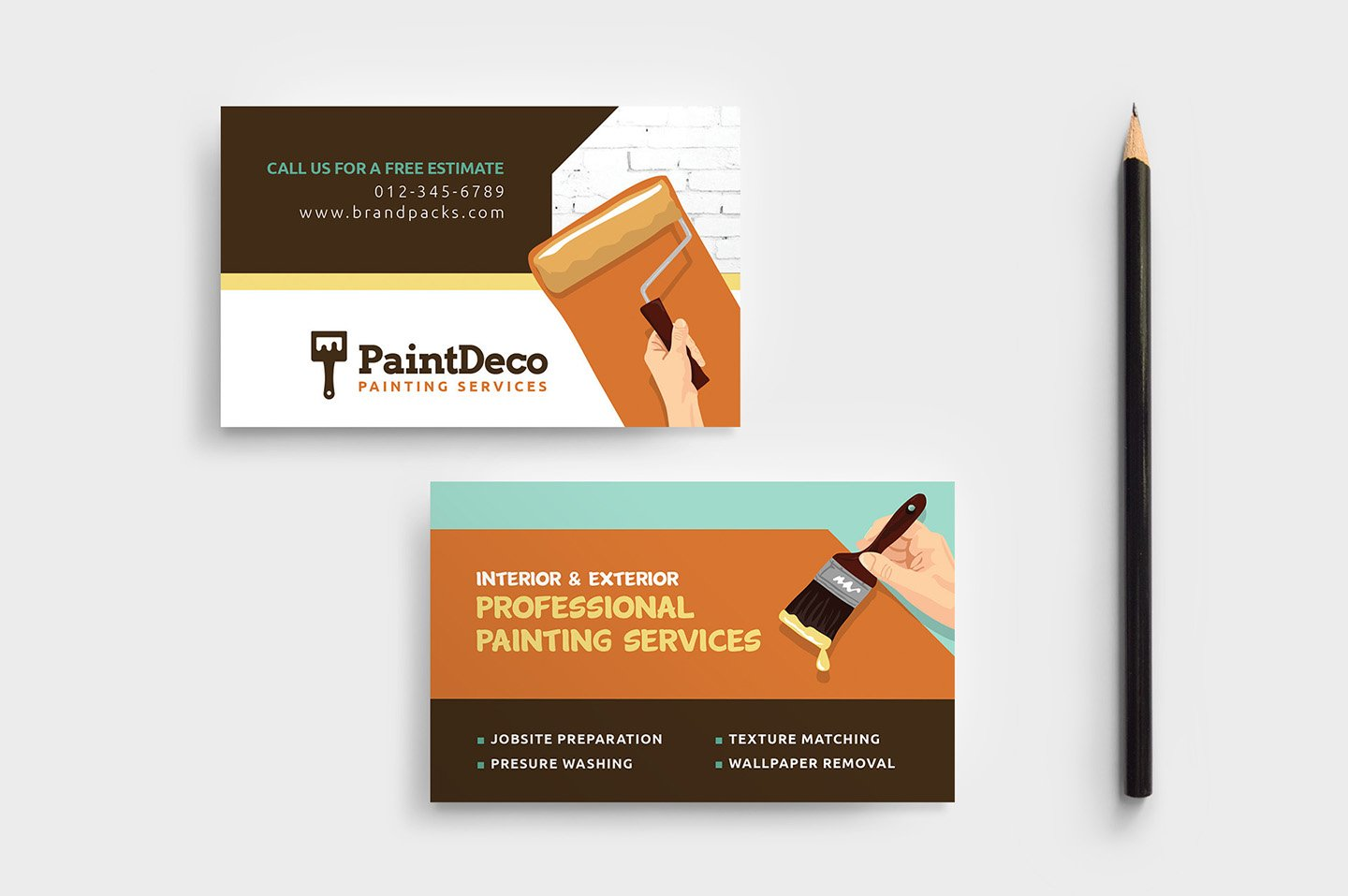 Painter decorator business card business card templates painter decorator business card business card templates creative market accmission Gallery