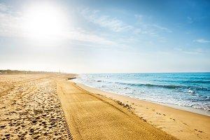 Long coastline, beach with sand