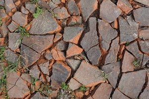 brick red roof tiles debris background