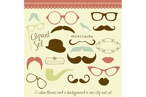 Mustache, Spectacles and Lips Kiss