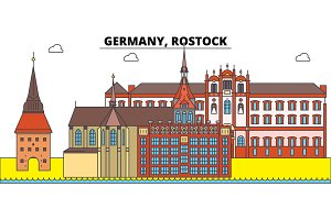 Germany, Rostock. City skyline, architecture, buildings, streets, silhouette, landscape, panorama, landmarks. Editable strokes. Flat design line vector illustration concept. Isolated icons
