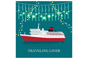 Traveling Liner Festival on Cruise Ship Vector