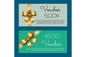 Voucher on 500$ Set of Posters Gold Bow Ribbons