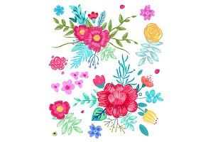 Collection of Floral Patterns Vector Illustration