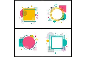 Set Colorful Abstract Frames on Illustration