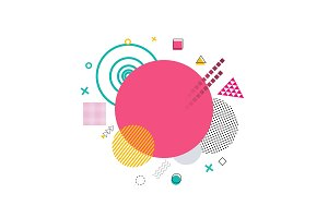 Pink Circle and Shapes on Vector Illustration