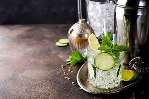 Refreshing Cucumber Gin Spritz Cocktail with Lime and Mint