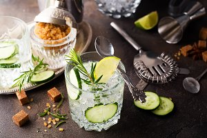 Refreshing summer drink - detox cocktail of mint, cucumber and lemon