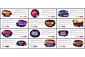 Black Friday Sale Web Site Set Vector Illustration