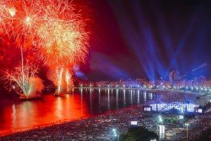 NYE Fireworks Copacabana, Rio