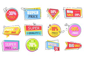 Super Price with Best Offer Promotional Logotypes