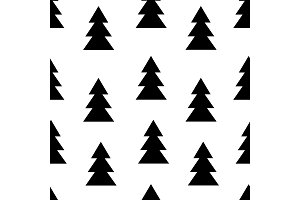 Seamless black and white pattern with fir trees. Vector illustration