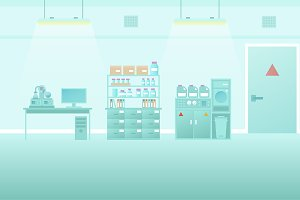 Scientific lab interior flat style