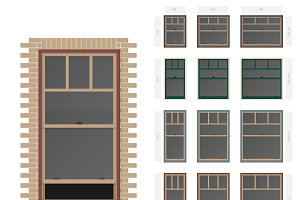 Single hung plaza windows set
