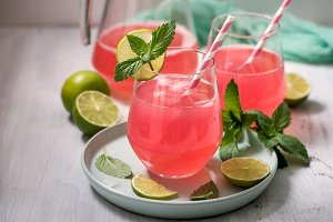 Refreshing summer lemonade drink