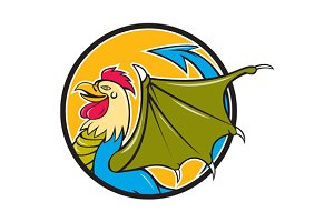 Basilisk Bat Wing Circle Cartoon