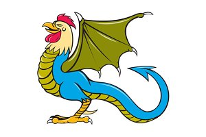 Basilisk Bat Wing Standing Cartoon
