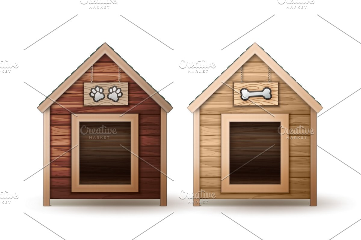 Wooden Dog Houses Illustrations Creative Market