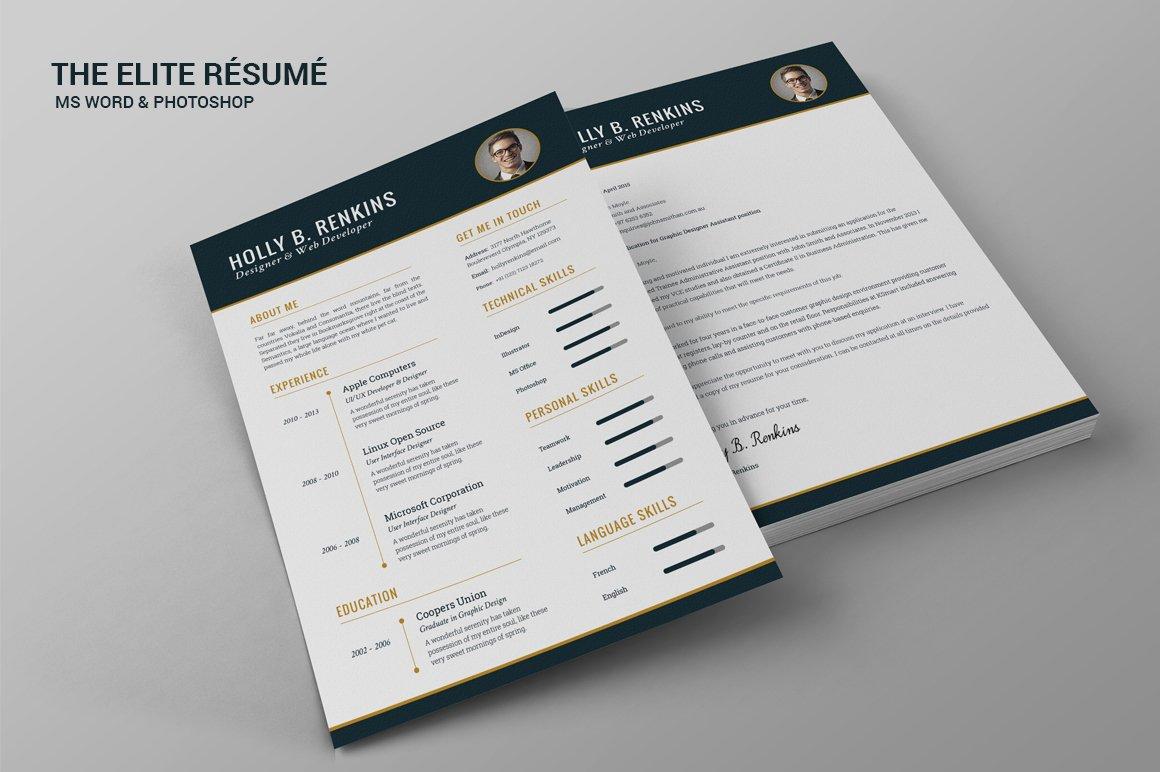 the elite résumé resume templates creative market