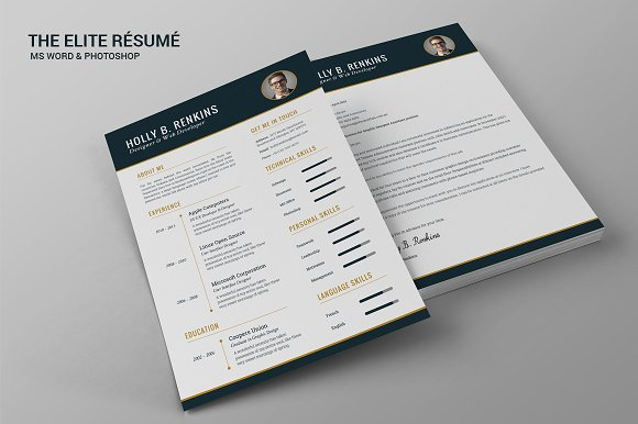 the elite résumé resume templates creative market