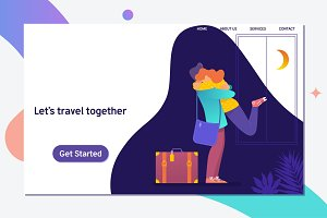 Let s travel together.Happy couple travel together.Flat Vector illustration