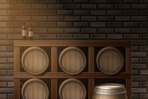 Wooden barrels for wine