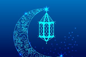 Ramadan kareem lantern and crescent