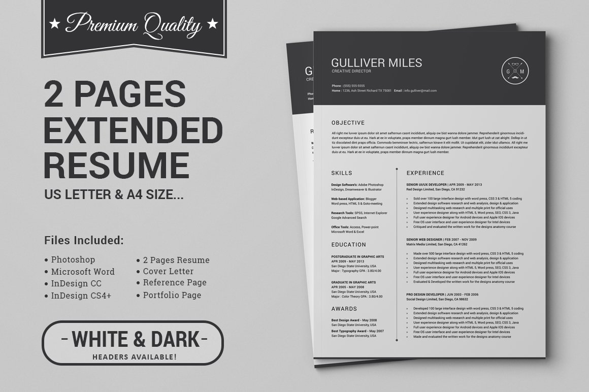 2 Pages Resume CV | Extended Pack ~ Resume Templates ~ Creative Market