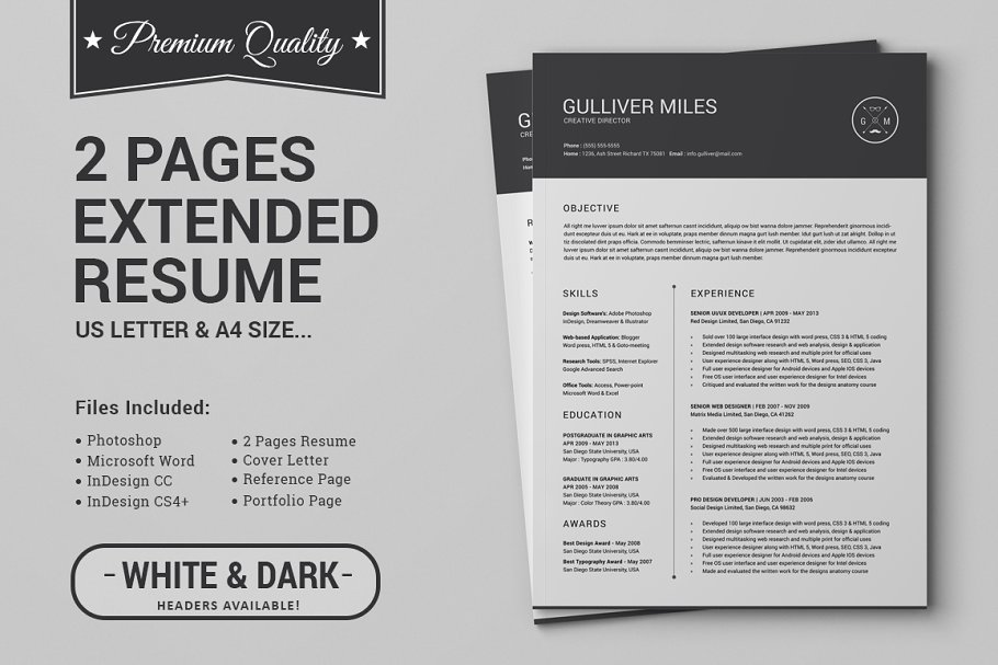 2 Pages Resume Template.2 Pages Resume Cv Extended Pack Cover Letter Templates