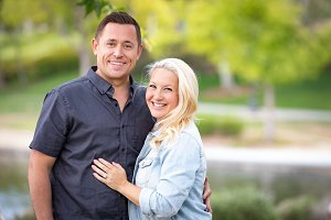 Caucasian Couple Outdoor Portrait