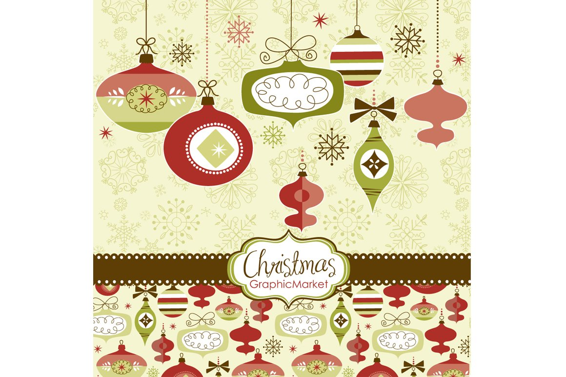 Christmas Clip Art Retro Ornaments Illustrations Creative Market