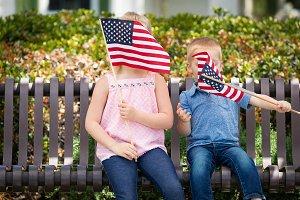 Sister & Brother With American Flags