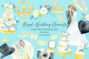 Watercolor Royal Wedding Icons